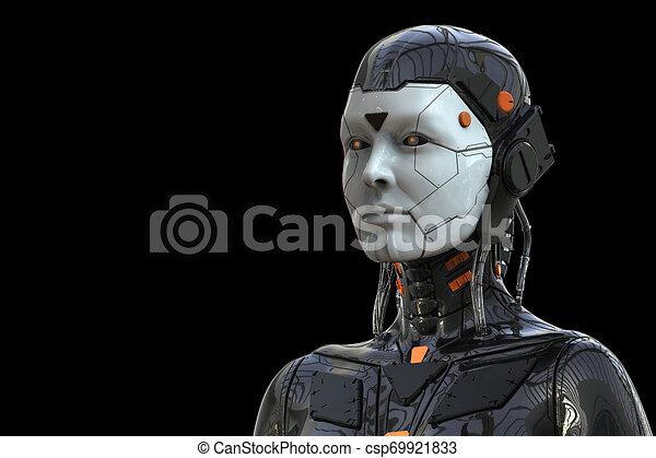 frau, cyborg, -realistic, hintergrund, -, weibliche , übertragung, android, 3d, roboter, humanoid, technologie - csp69921833