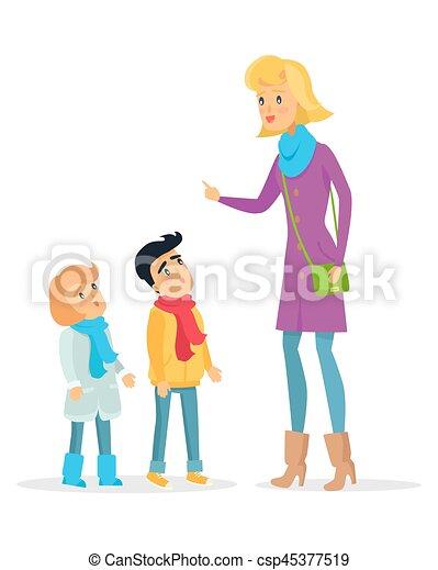 Frau, die regeln für aufmerksame kinder erklärt. Frau, die