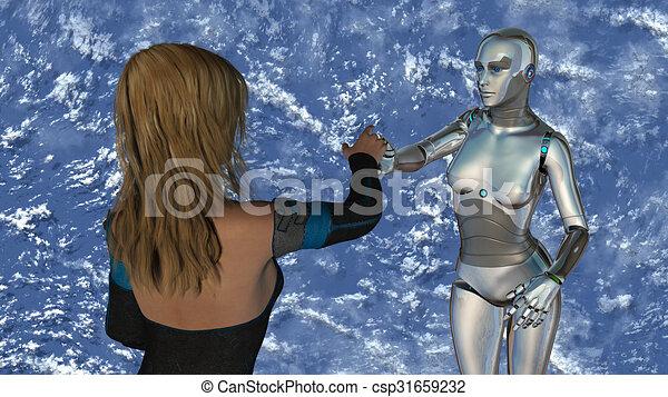 Frau und Roboter - künstliche Intelligenz - csp31659232