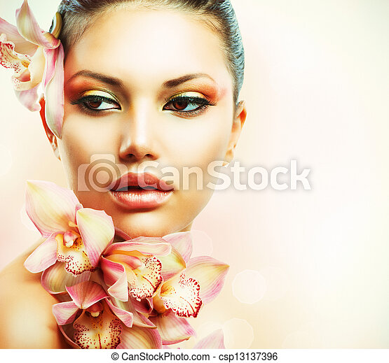 frau mädchen, schoenheit, gesicht, flowers., orchidee, schöne  - csp13137396