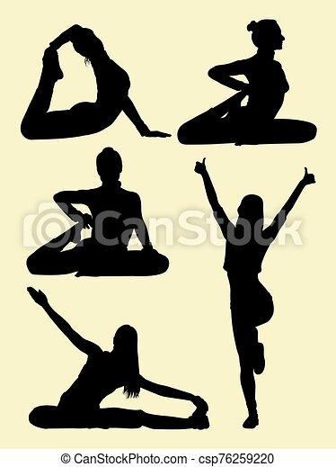 frau, pilates, silhouetten - csp76259220