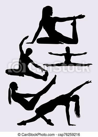 frau, pilates, silhouetten - csp76259216