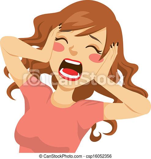 Verzweifelte schreiende Frau - csp16052356