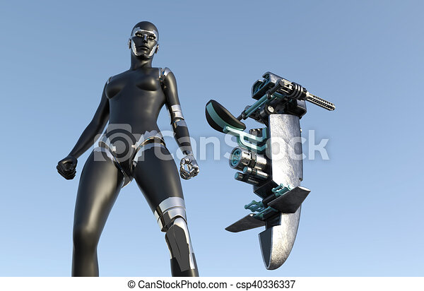 frau, science-fiction, cyborg, -, humanoid, fahrzeug - csp40336337