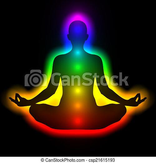 frau, silhouette, koerper, energie, chakras, meditation, aura - csp21615193