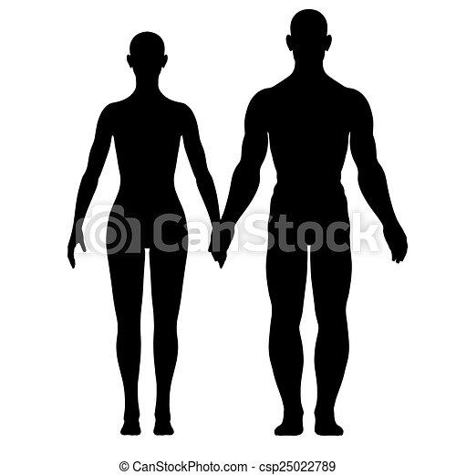 Silhouette von Frau und Mann - csp25022789