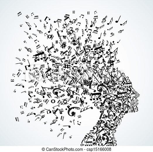 Frauen-Kopf-Musiknoten spritzen - csp15166008