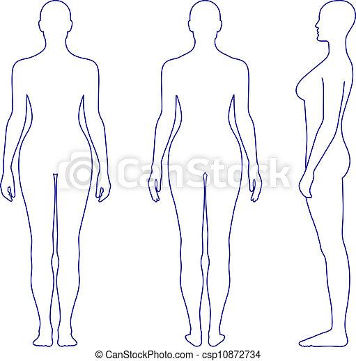 frauenansehen, silhouette, textilfreie  - csp10872734