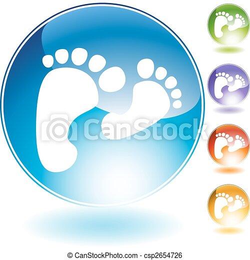 Fußabdrücke, wandelnde Kristall-Ikone - csp2654726