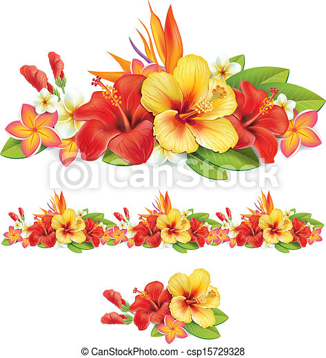 Garland der tropischen Blumen - csp15729328
