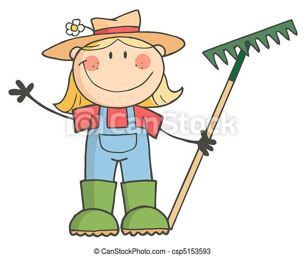 Gartenmädchen winkt einem Gruß. - csp5153593