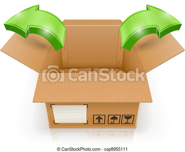 Geöffnete Box mit Pfeil draußen - csp8955111
