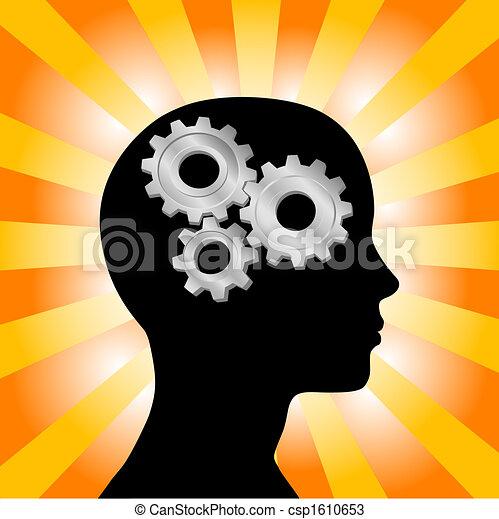 Gear Kopf-Frau-Profil denkt an gelbe orangefarbene Strahlen - csp1610653