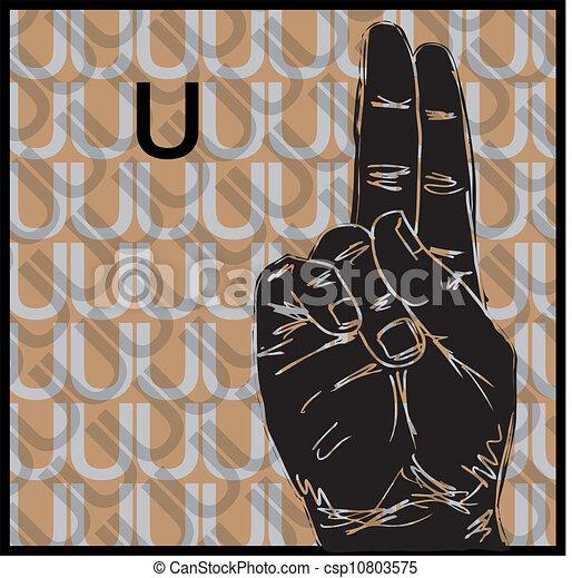 Ein sketch von gesten der gebärdensprache, buchstaben u