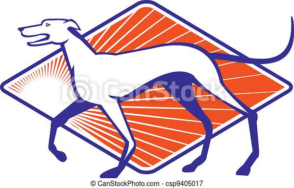 gehen, seite, windhund, retro, hund - csp9405017