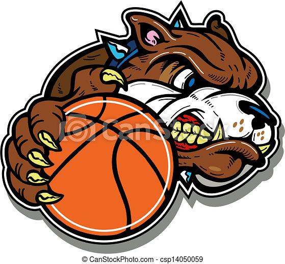 Gemeine Bulldogge mit Basketball - csp14050059