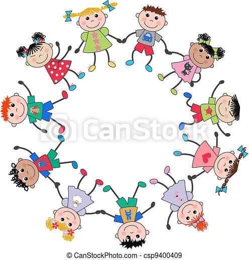 Gemischte ethnische Kinder. - csp9400409
