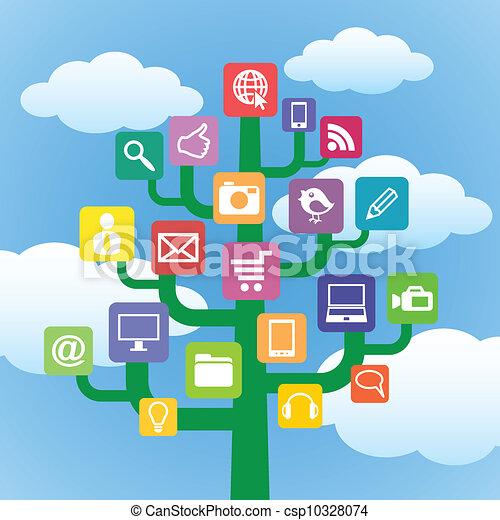 Ein Baum mit Ikonen-Gadgets und Computersymbolen. - csp10328074