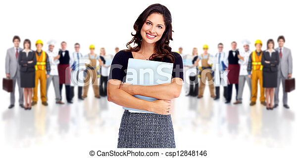 Geschäftsfrau und Arbeitergruppe. - csp12848146