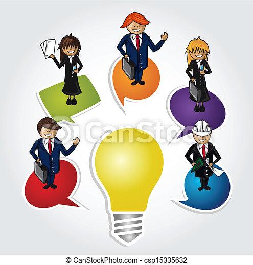 Geschäftsleute arbeiten mit sozialen Ideen. - csp15335632