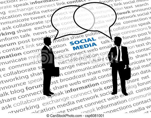 Geschäftsleute, Sozialnetz-Text, reden über Blasen - csp6081001