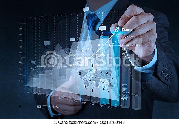 Geschäftsmann Handarbeit mit der neuen modernen Computer- und Business-Strategie als Konzept. - csp13780443