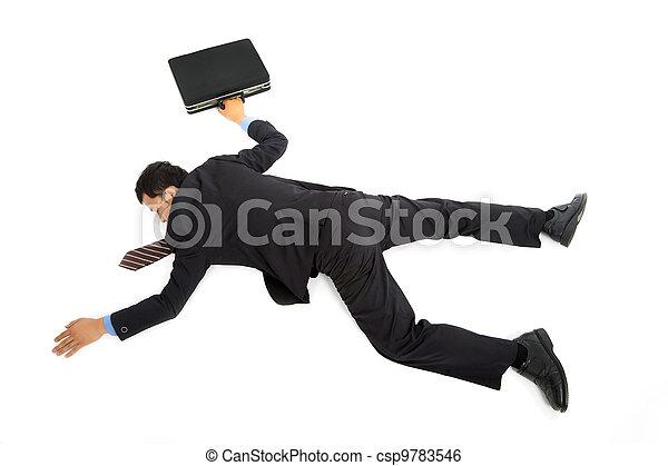 Geschäftsmann liegt auf dem Boden. - csp9783546
