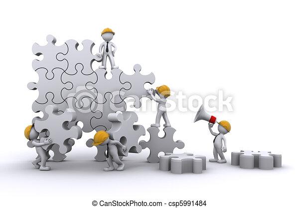 Geschäftsteam arbeitet an einem Puzzle. Geschäftskonzept aufbauen. - csp5991484