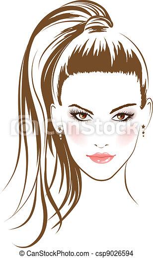 Gesichtsbezirke mit langen Haaren - csp9026594