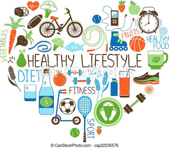 Gesunde Lifestyle-Diät und Fitness-Herzzeichen. - csp22235576