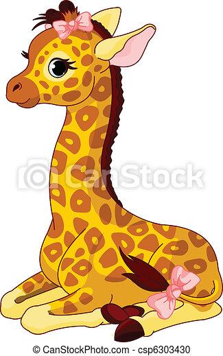 Giraffe Kalb mit Bogen - csp6303430