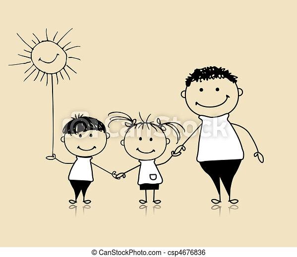 Glückliche Familie lächelnd, Vater und Kinder, zeichnen Skizze - csp4676836