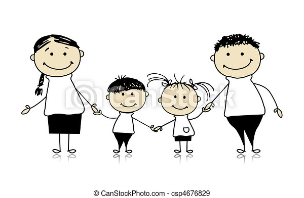 Glückliche Familie lächelt zusammen, zeichnet Skizze - csp4676829