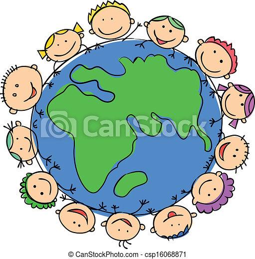 Glückliche Kinder mit Globus - csp16068871