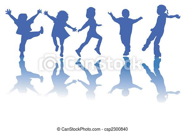 Glückliche Kinder schilhouette - csp2300840