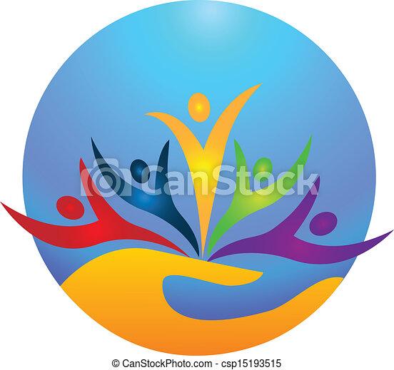 Glückliche Menschen Logovektor - csp15193515