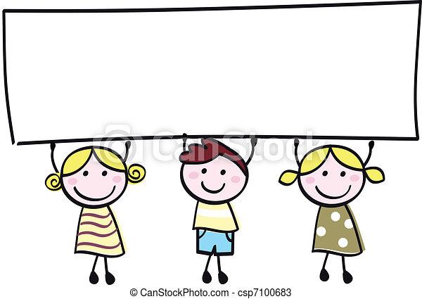 Glückliche, süße kleine Mädchen und Junge mit leerem Banner - Cartoon Illustration. - csp7100683