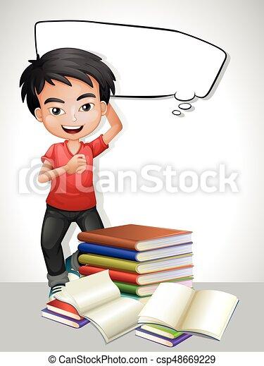 Glücklicher Junge und Stapel Bücher. - csp48669229