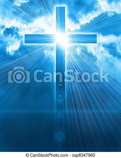 Glühendes Kreuz am Himmel - csp8347960
