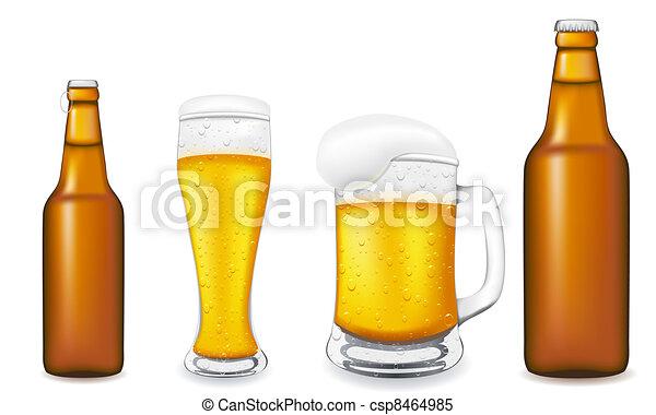glas, krank, vektor, bierflasche - csp8464985