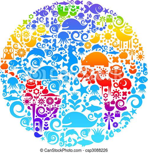 Globe-Ausschnitt aus Vögeln, Tieren und Blumen-Ikonen - csp3088226