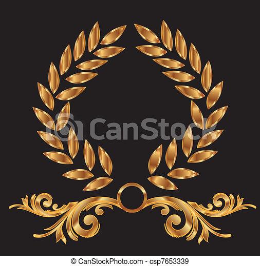 Gold-Lorrel-Renath-Dekoration. - csp7653339
