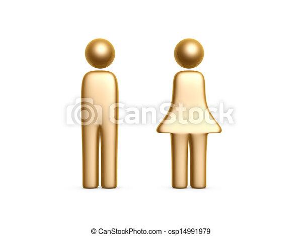 Gold Mann und Frau symbolisieren - csp14991979