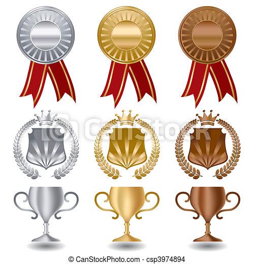 Gold Silber und Bronzemedaillen - csp3974894