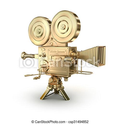 Gold Videokamera auf weißem Hintergrund. - csp31494852