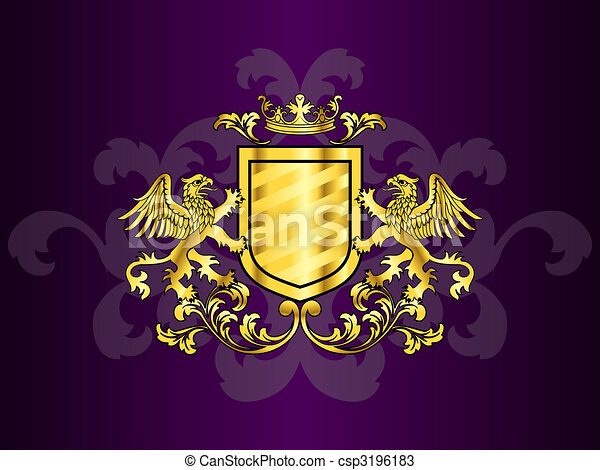 Goldene Rüstung mit Griffins - csp3196183