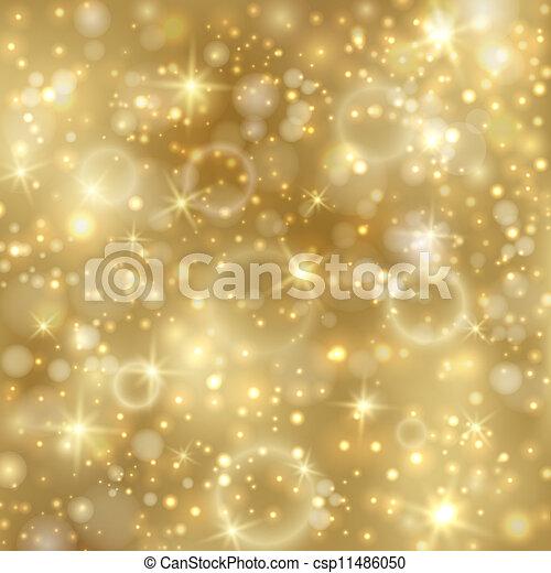 Goldener Hintergrund mit Sternen und funkelnden Lichtern - csp11486050