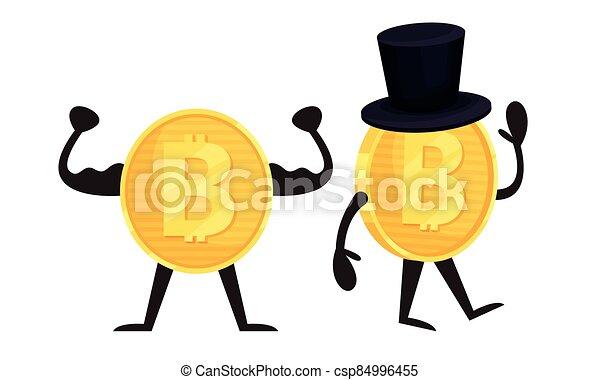 goldenes, ausstellung, zeichen, vektor, satz, muskeln, humanized, bitcoin, winkende , hand - csp84996455