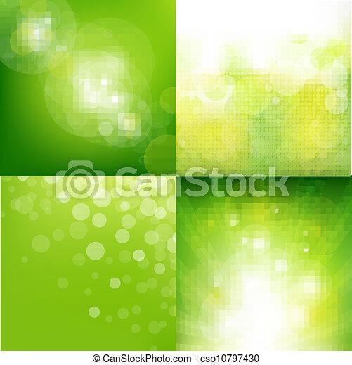 Grüner ökologischer Hintergrund mit verschwommenem Set. - csp10797430