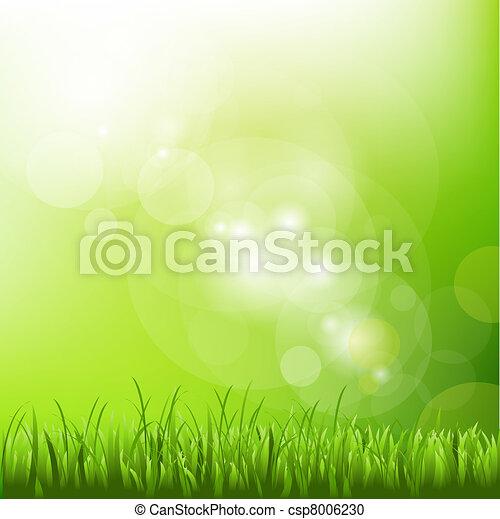Grüner Hintergrund mit Flecken und Gras - csp8006230